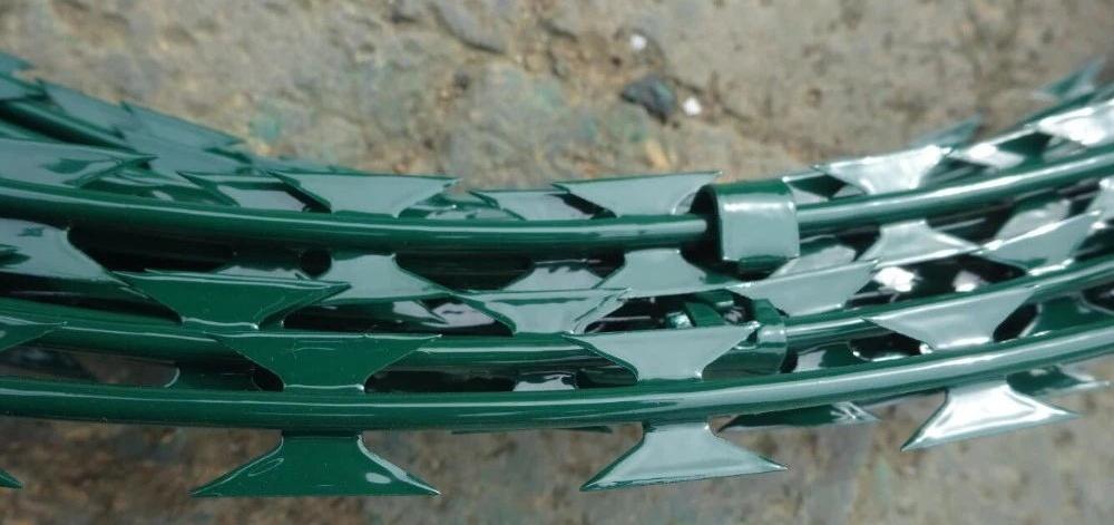 green powder coating razorwire